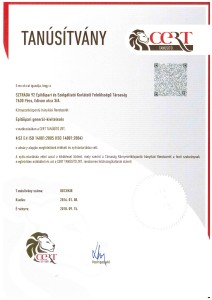 Tanusítvány MSZ EN ISO 14001 CERT