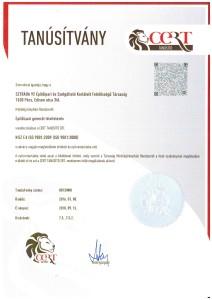 Tanusítvány MSZ EN ISO 9001 CERT